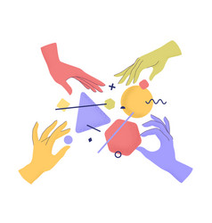 Cartoon human hands holding abstract geometric vector