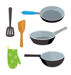 Cartoon kitchen tools set isolated on white vector