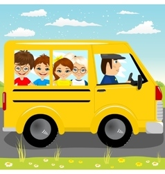 caucasian school kids riding a schoolbus vector image