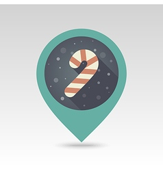 Christmas Candy Cane flat pin map icon vector image