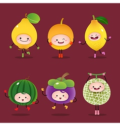 Collection of cartoon fruits vector