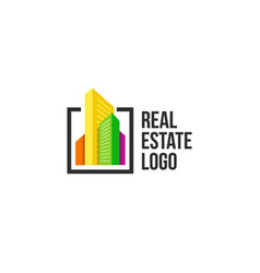 colorful cityscape logo set in black frame new vector image