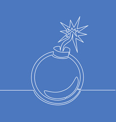 continuous one line bomb icon concept vector image