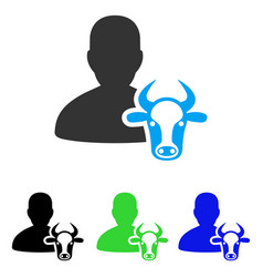 Cow farmer flat icon vector