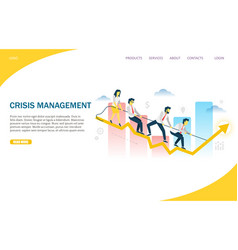 Crisis management website landing page vector