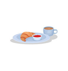 croissant and cup of coffee french breakfast vector image