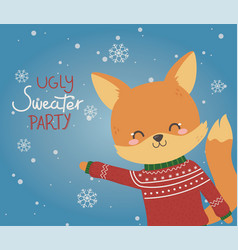 cute fox christmas ugly sweater party vector image