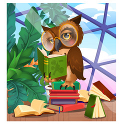 Cute owl in greenhouse with exotic plants vector