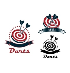 Darts sport emblems or symbols vector
