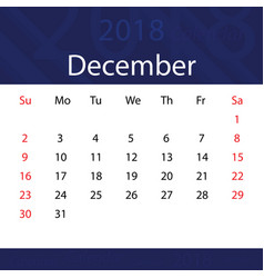 december 2018 calendar popular blue premium for vector image