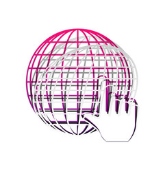 earth globe with cursor detachable paper vector image