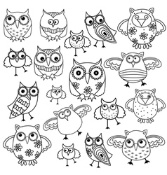 Eighty funny owls black outlines vector