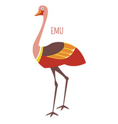 Emu ostrich cartoon bird from australia vector