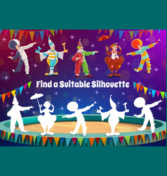 Find circus clown silhouette kids game riddle vector