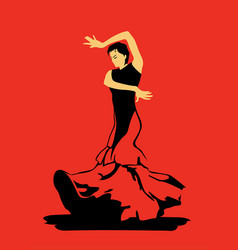 Flamenco dance on red background vector