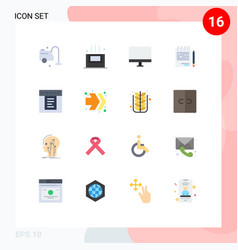 Flat color pack 16 universal symbols of vector