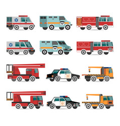 Flat emergency vehicles vector