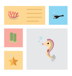 Flat icon marine set of hippocampus fish sea vector