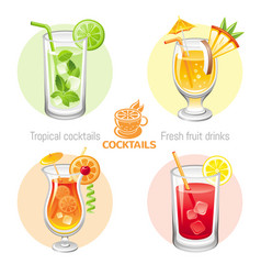 Fresh fruit drink bar logo icon set flat vector