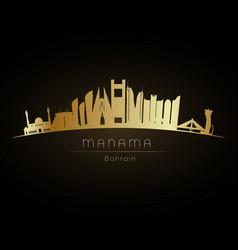 golden manama city skyline vector image