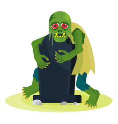Green toothy zombie with red eyes peeps out from vector