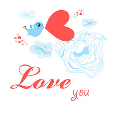 Greeting card to day all lovers with a bird vector