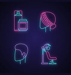 Hairdress neon light icons set beauty salon vector