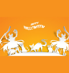 halloween background with witch and cat in paper vector image
