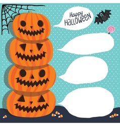 Halloween pumpkins with bubble speech vector