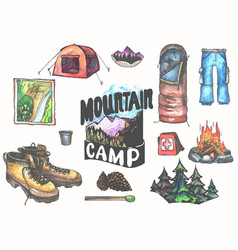 Hand drawn camping set with watercolor elements vector