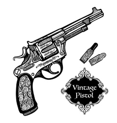 Hand Drawn Retro Pistols vector image