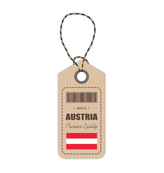 hang tag made in austria with flag icon isolated vector image