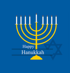 Happy hanukkah hanukkah candles menorah with nine vector