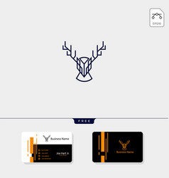 head deer creative logo template with line art vector image
