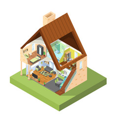 house cutaway isometric interior modern house vector image