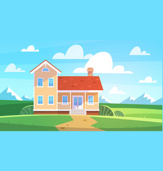house in summer landscape cottage in countryside vector image