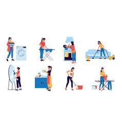 housewife cartoon woman doing housework young vector image