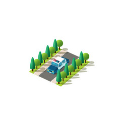 isometric front left view police car vector image