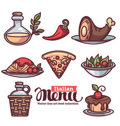 Italian menu collection of flat linear food and vector