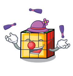 Juggling rubik cube mascot cartoon vector