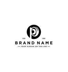 Letter p tire logo design vector