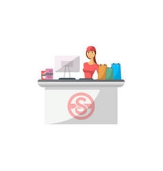 mall checkout counter with cashier icon vector image