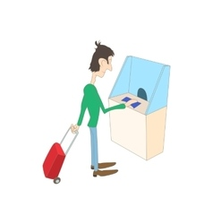 Man buys a ticket in the ticket office icon vector