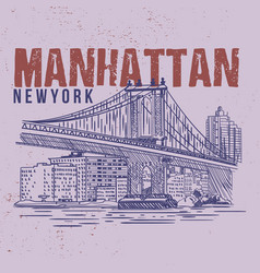 manhattan new york drawing city vector image