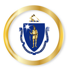 massachusetts flag button vector image