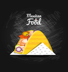 Mexican traditional food taco vector
