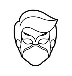 Monochrome thick contour head of faceless boy vector