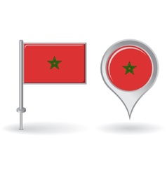 Morocco pin icon and map pointer flag vector