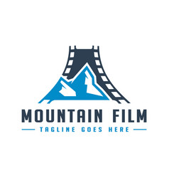 mountain film production logo with letter a vector image