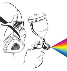 Painter in a respirator with a spray gun in hand vector